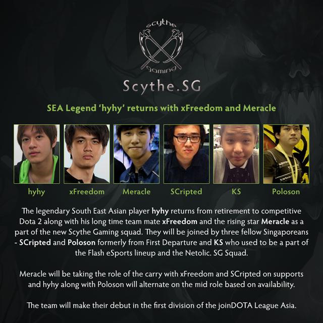 Scythe.SG tái lập, hyhy trở lại đấu trường Dota 2 2