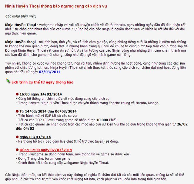 Asiasoft Việt Nam đóng cửa Ninja Huyền Thoại vào 07/03 2