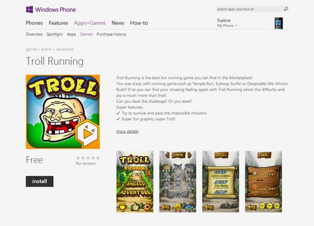 Troll Running có mặt trên Windows Phone Store 1