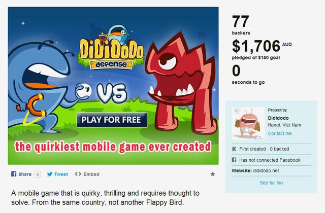 Dididodo Defense gọi vốn thành công trên Kickstarter 2