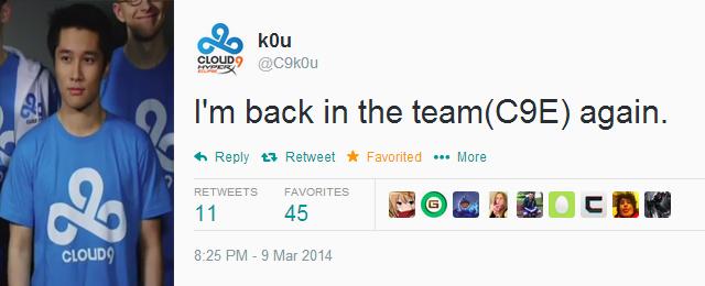 K0u trở lại với đội hình thi đấu của Cloud 9 Eclipse 2