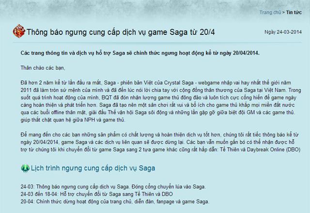 Like.vn thông báo đóng cửa webgame Saga Việt Nam 2