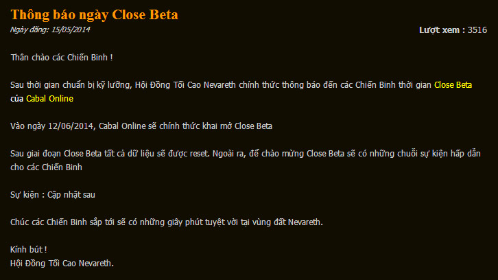 Cabal Online mở cửa thử nghiệm Closed Beta vào 12/06 2