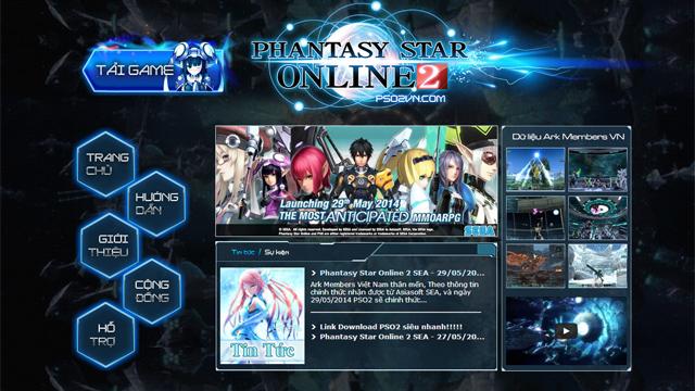 Phantasy Star Online 2 có trang chủ tiếng Việt 1