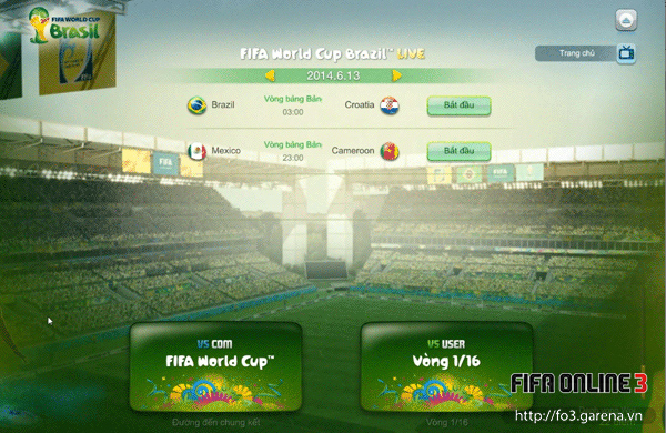 Việt Nam tham gia World Cup 2014 trong FIFA Online 3 1