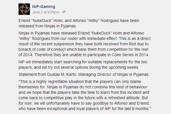 LMHT: Mithy và Nukeduck bị cấm thi đấu 2