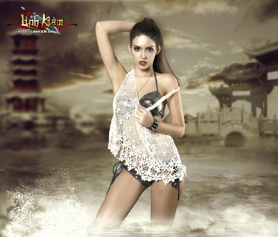 Andrea Aybar sexy trong ảnh quảng bá Linh Kiếm