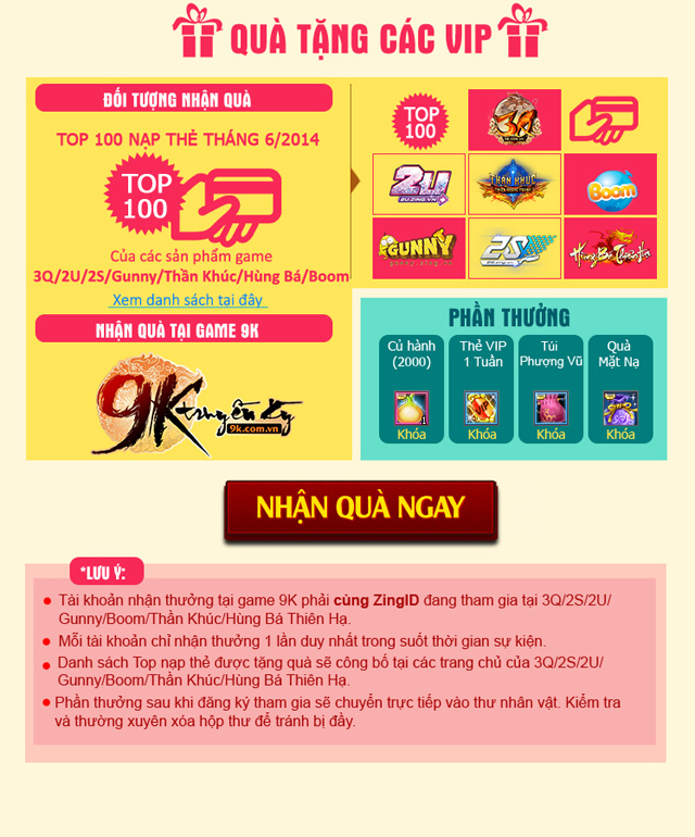 """9K Truyền Kỳ khởi động sự kiện """"Chơi 9K là có quà"""" 3"""