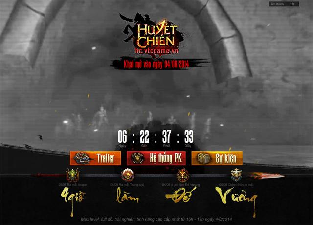 Huyết Chiến mở cửa thử nghiệm vào ngày 04/08 1