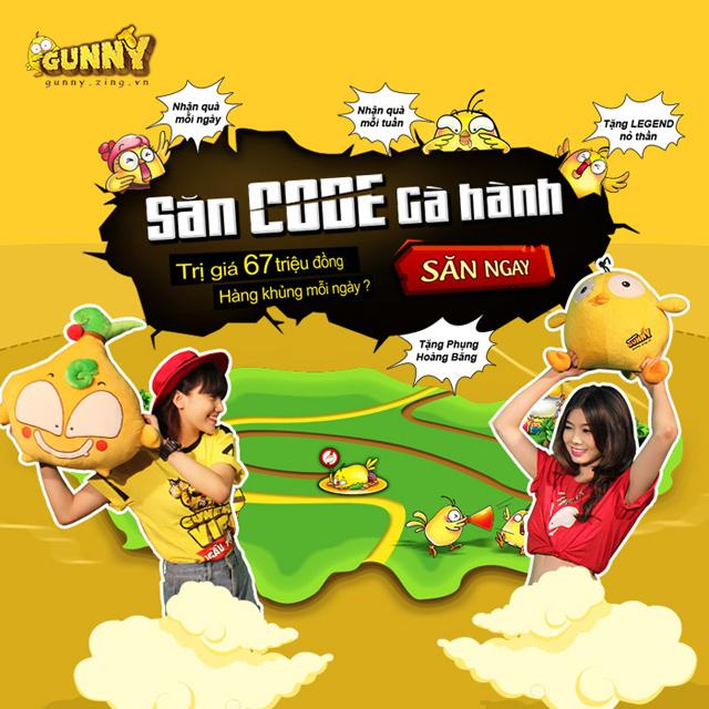Tặng giftcode Gà Hành game Gunny Online 1