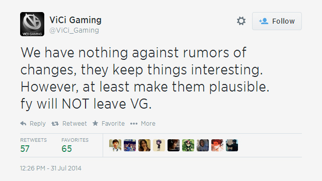 Dota 2: fy sẽ vẫn gắn bó với Vici Gaming 2